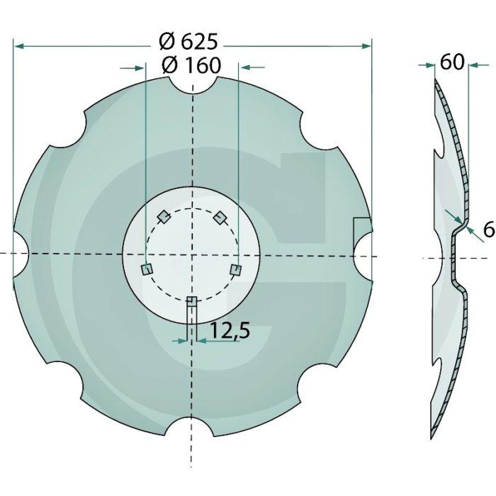 Disco de plato dentado, 5 orificios (Lemken Rubin)