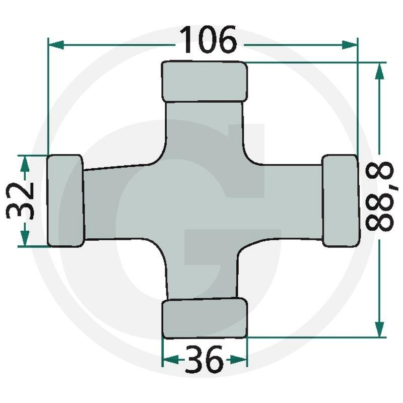 Weasler Juego en forma de cruz. F258, AW36-80°